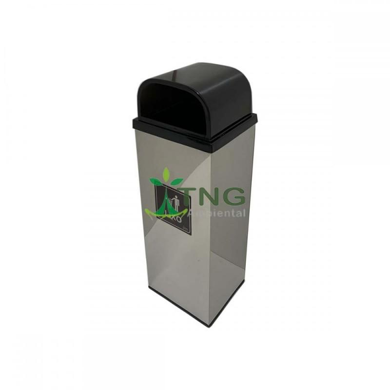 Lixeira 50 litros em aço inox com tampa abertura frontal em fibra de vidro