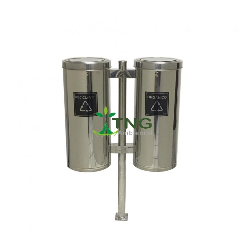 Conjunto com 02 lixeiras para coleta seletiva aço inox 50 litros cada