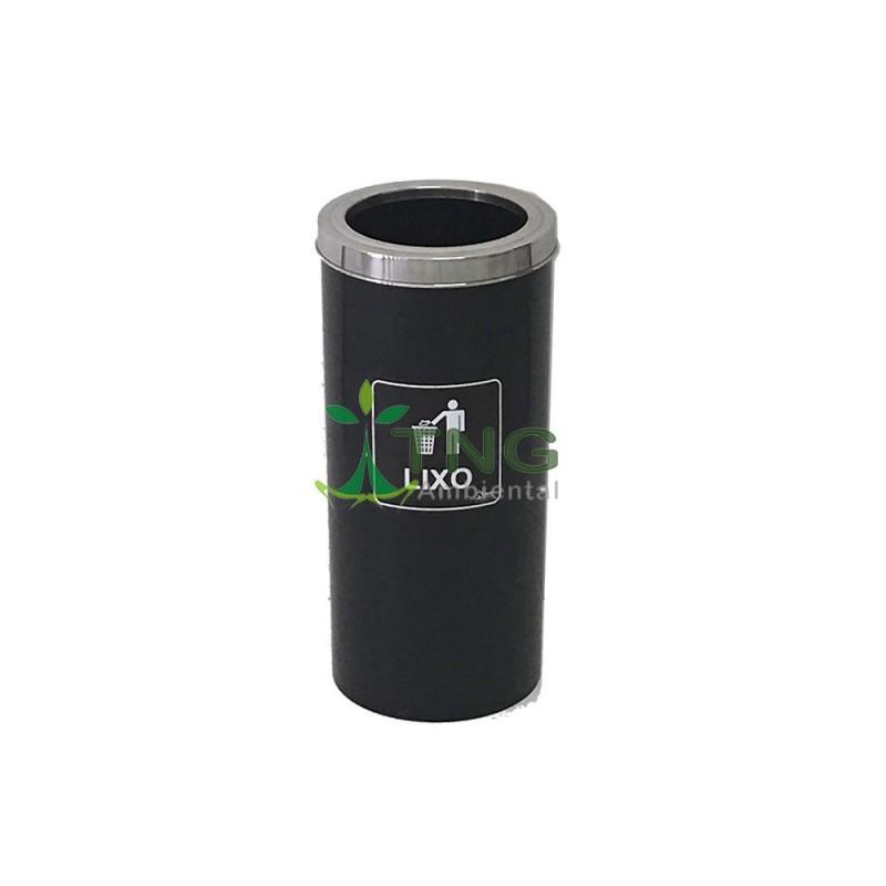 Lixeira 75 litros em fibra com aro em aço inox