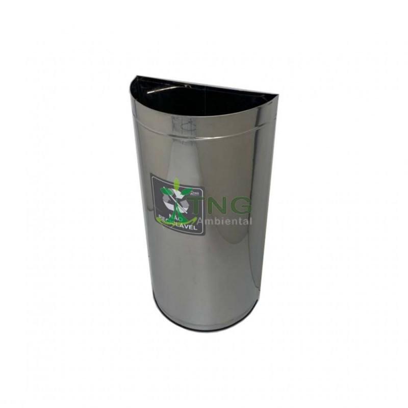 Lixeira 40 litros em aço inox em formato meia-lua