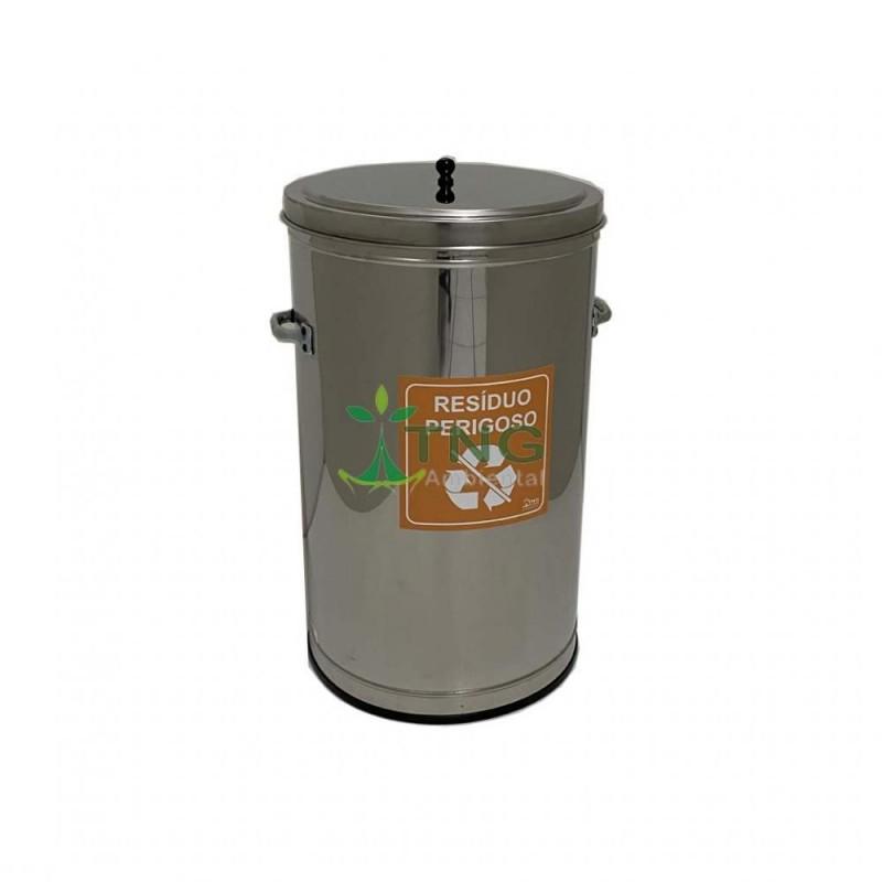 Lixeira 30 litros em aço inox 304 com tampa de sobrepor
