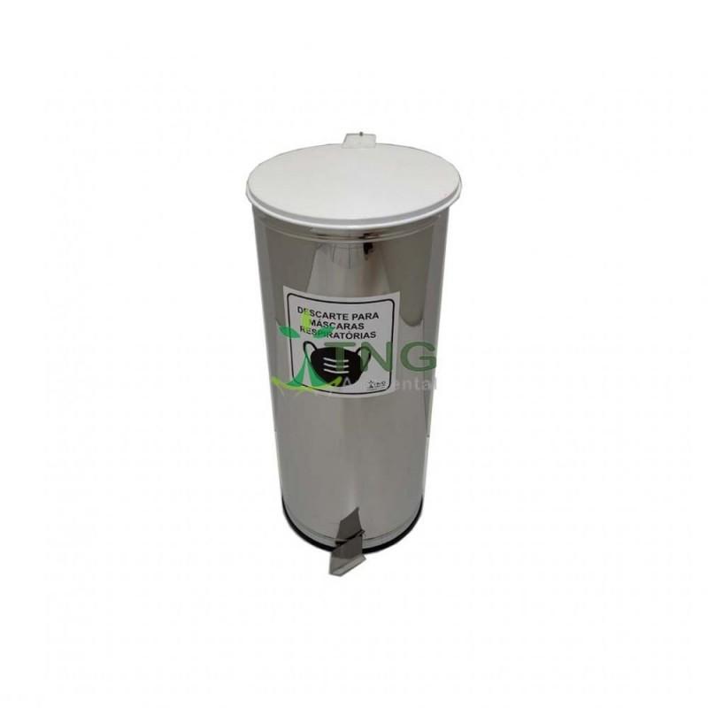 Lixeira 25 litros em aço inox com pedal e balde interno - Coleta de Máscaras