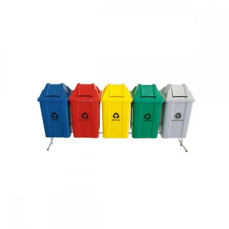 Conjunto com 06 lixeiras para coleta seletiva com tampa vai-vem 100 litros