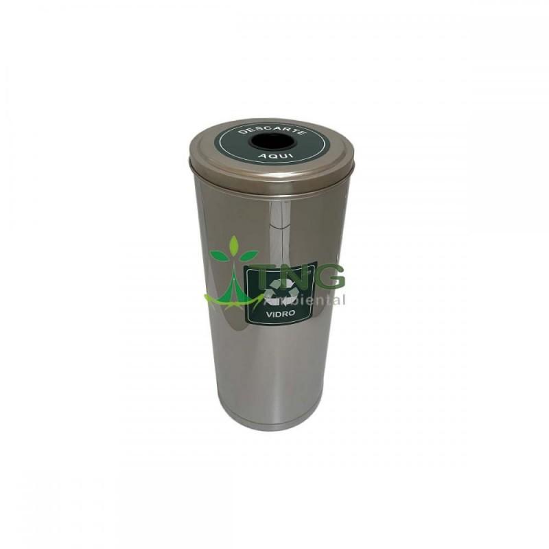 Lixeira 50 litros em aço inox com tampa abertura modelo