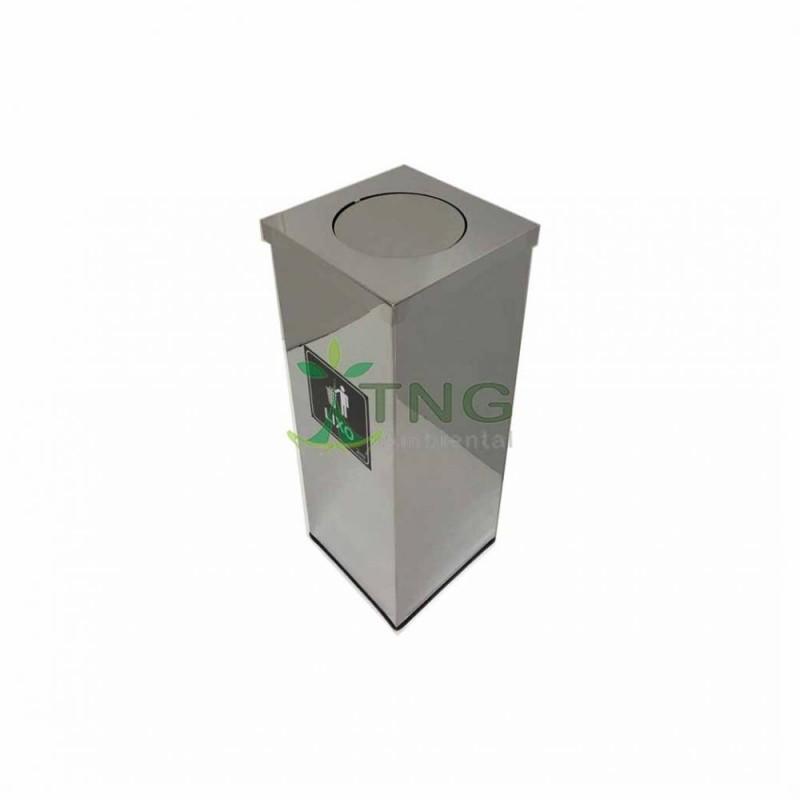 Lixeira 72 litros em aço inox quadrada com tampa flip-top