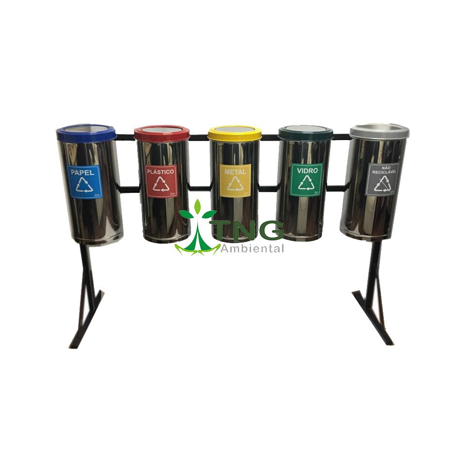 Conjunto com 05 lixeiras para coleta seletiva em aço inox 25 litros cada