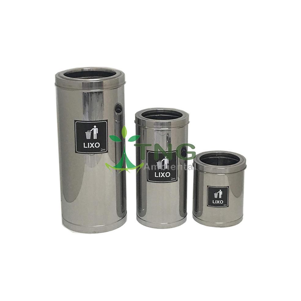 Lixeira 30 litros em aço inox com aro