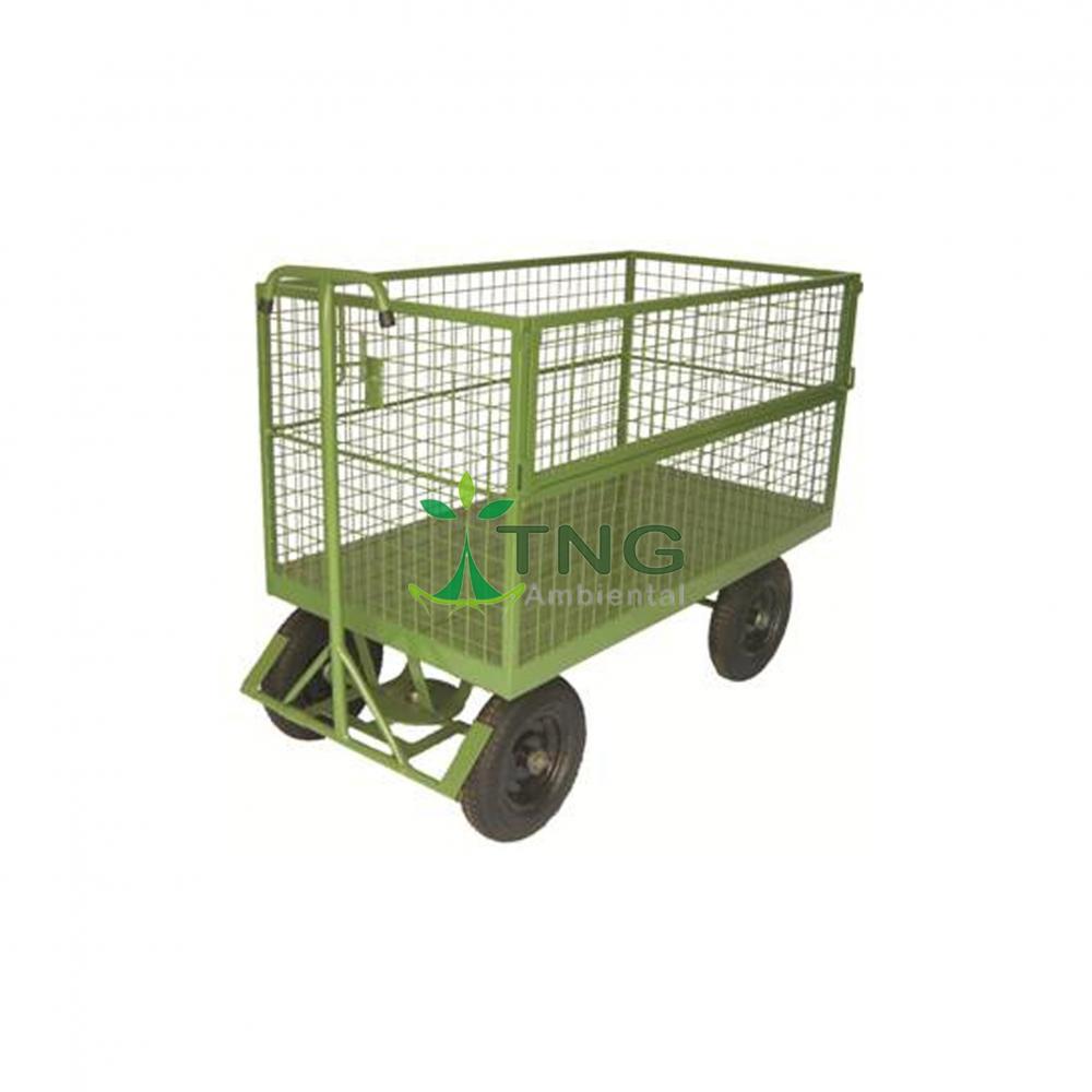 Carro plataforma em tela com rodas pneumáticas